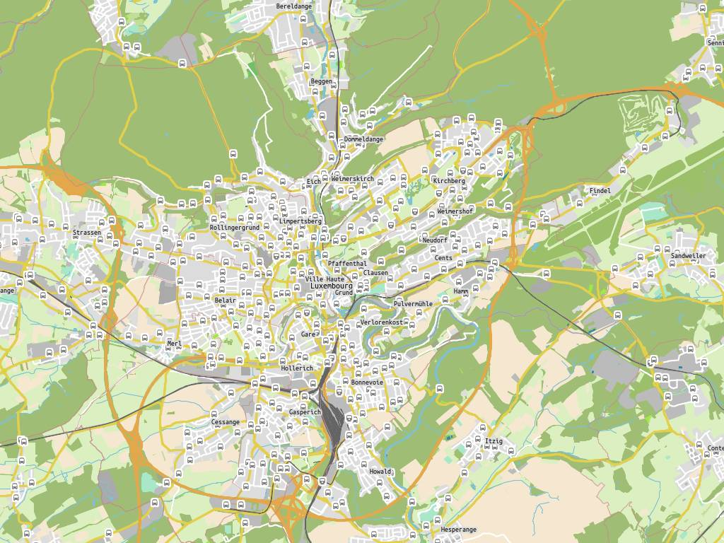 Clausener breck, bushaltestelle luxembourg clausen: navette rives ...